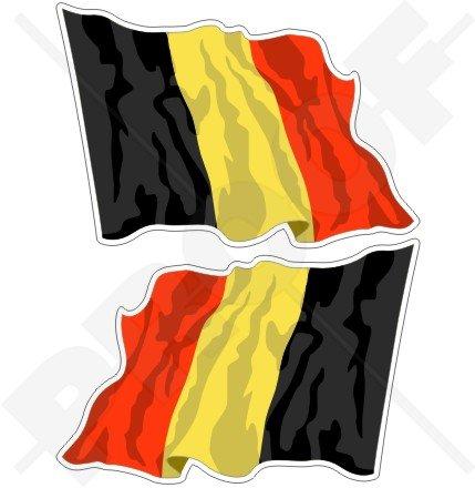 Belgien Belgische Waving Flag 7,6cm (75mm) Bumper Sticker, Aufkleber Vinyl X2