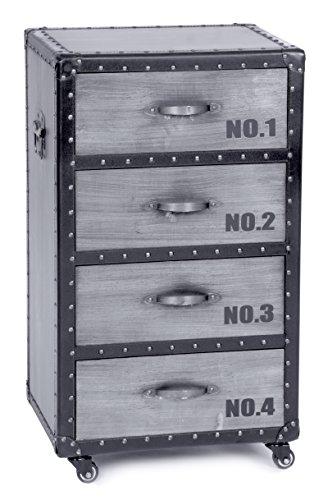 ts-ideen Kommode Schrank Regal Truhe Kiste Aluminium Industrie Design mit 4 Schubladen auf Rollen in Silber -