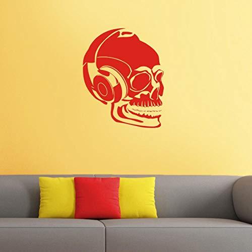 ljjljj Schädel Musik Halloween Headset Wandaufkleber Punk Decal Devil Art Wandtattoos Dekor Wandbild 40x50cm
