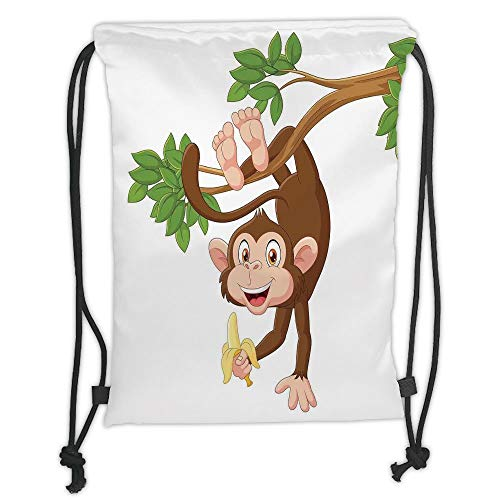 ack Backpacks Bags,Cartoon,Funny Monkey Hanging from Tree with Banana Jungle Animals Theme Mascot Print Decorative,Chocolate White Soft Satin,5 Liter Capacity,Adjustable STR ()