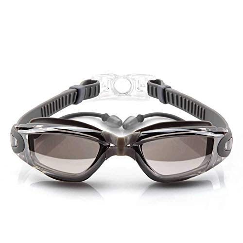 EUTUOPU Swimming Goggles,Men and Women Electroplated Flat Swimming Goggles No Leaking, Anti Fog, UV Protection - Free Storage Case (Silver)