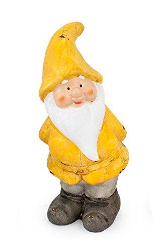 Impressionata Deko Figur Zwerg Wichtel Karli aus Keramik Gelb Grau Weiß, 15 cm, Gartenfigur Gartenzwerg Wichtelfigur für Wohnung Garten