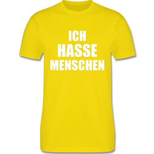 Shirtracer Statement Shirts - Ich Hasse Menschen - Herren T-Shirt Rundhals Lemon Gelb