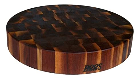 John Boos Walnut Wood End Grain Round Butcher Block Cutting Board, 18 Inches Round x 3 Inches by John Boos