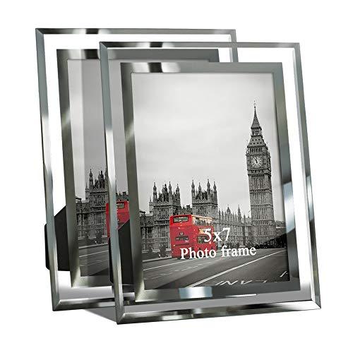 Giftgarden set da 2 cornici foto per ritratti 13x18 cm portafoto in vetro trasparente