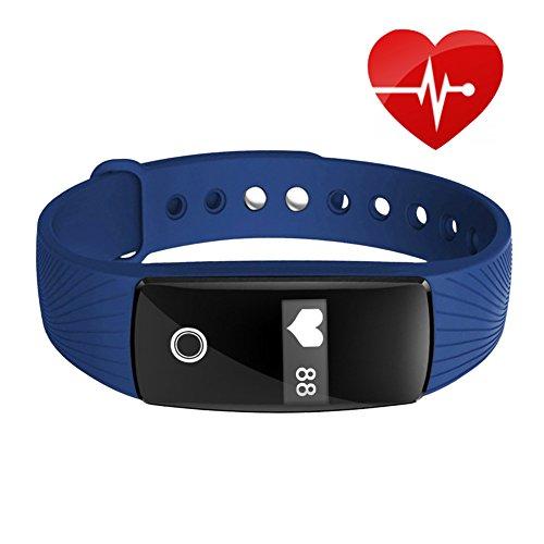 Kivors Fitness Tracker ID107 Activity Tracker Attività Fisica Cardio HR Bluetooth Pedometro Cardiofrequenzimetro da Polso con Fascia Orologio Bracciale Smartband per Android iOS iPhone