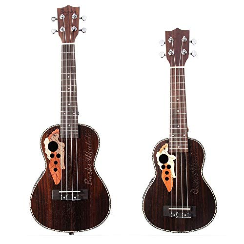 Susulv Starter Kit per Ukulele Nero Colore Marrone 21/23 Pollici EQ Rosewood Abete Electro Acoustic Ukulele Chitarra Hawaii (Colore : Black Brown, Dimensione : 21inch)