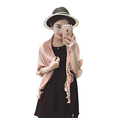 Santwo Modischer Schal/Bolero/Cardigan/Schultertuch aus Chiffon für Damen, als Sonnenschutz am Strand oder im Auto Gr. XX-Large, Nude Pink (Top Knit Ruched)