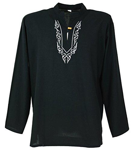 Guru-Shop Yoga Hemd Bestickt, Goa Shirt, Herren, Schwarz/weiß, Baumwolle, Size:L, Männerhemden Alternative Bekleidung - Schwarzes Besticktes Hemd