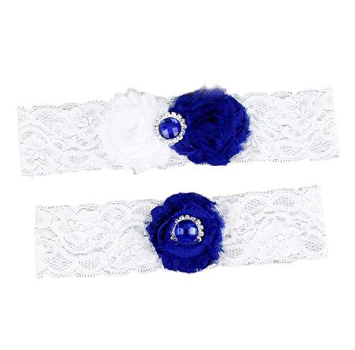 Jungen giarrettiera brides giarrettiere da sposa cintura nastro con decorazione floreale matrimonio vestito accessori (blu)