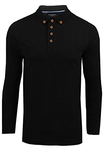 Herren Langarm Polo T-Shirt Brave Soul Neu Lincoln Piquet Baumwolle Kragen Top Schwarz