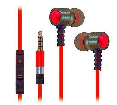 Ultra haute Clarté en métal très résistant Isolation phonique écouteurs stéréo 3,5mm/Casque/écouteurs pour ZTE Axon Elite/Warp Elite/obsidienne Lame/V6/AXON Lux/Max +/AXON Pro/Lame D6/AXON/Maven (Sonde spatiale)/SONATE 2/Ouverture 2/Fanfare/Nubie Z9(Rouge)–avec microphone et contrôle du volume + Sac de transport