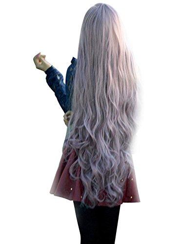 raun Kunsthaar Lange Perücke Langhaarperücke Welle Gelockt Hairs Alltag 100cm, wie Echthaar Perücken Wig Anime Manga ()