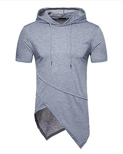 Guocu maglietta da uomo maglietta con cappuccio manica corta a maniche lunghe con cappuccio tinta unita casual estate degli uomini maglietta