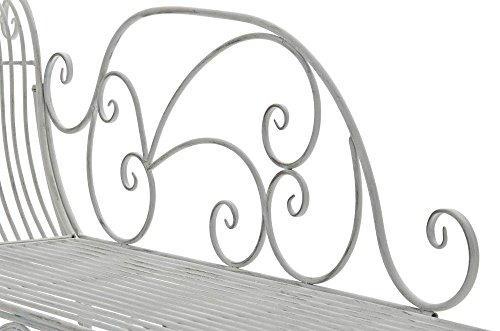 Gartenbank aus Metall in antik Weiß, eine romantische Nostalgie Liege-Bank – Ruhebank mit Ornamenten im Landhausstil - 6