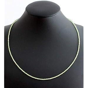 Peridot (Olivin) Kette Edelstein Collier Fein geschlifen ca. 44 cm