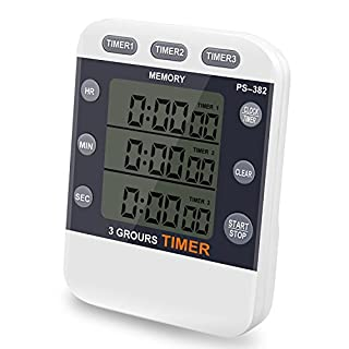 Digital Timer CEEBON 100 Hour Triple Count Down/Up Clock Timer Kitchen Cooking Timer with Large LCD Display Loud Alarm Magnet Bracket