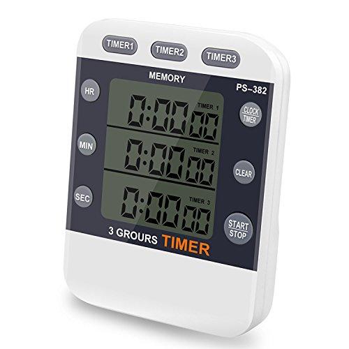 Stunden Timer (CEEBON Digital-Timer bis 100Stunden, 3-in-1-Funktion mit Timer, Stoppuhr und Uhrzeit, großes LCD-Display, lauter Alarm und Magnethalterung)