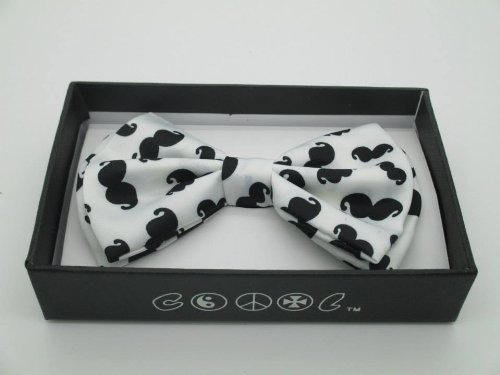 AJ Accessories Men's Mustaches Novelty Pre-Tied Satin Bow Tie (White/Black) by KB Ties - Pretied Bow Tie