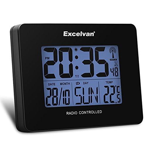 Excelvan digitale Funkuhr Funkwecker Radio Kontroll Alarm Uhr Tischuhr Thermometer Hygrometer Temperaturanzeige Feuchtigkeit Zeit Kalender LCD Display mit blauen Hintergrundbeleuchtung -