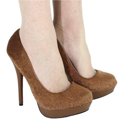 High Heels Pumps Plateau im Italy Design 14 cm braun Braun