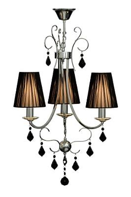 Premier Housewares 3-flammiger Kristall-Kronleuchter Luma mit Lampenschirmen aus geripptem Stoff, schwarz von Premier auf Lampenhans.de