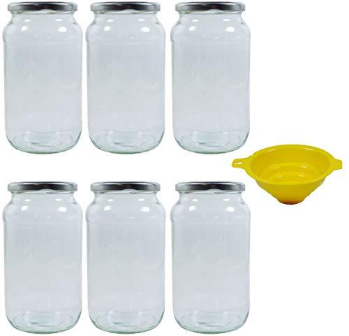 mikken 6 x Einmachglas 1 Liter mit Schraubverschluss Silber, inkl. Einmachtrichter