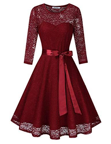 KOJOOIN Damen Spitzenkleid Abendkleider Cocktailkleid Brautjungfernkleider für Hochzeit Kurzes Midikleid Langarm Bordeaux Weinrot S