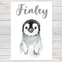 Baby Penguin, Cute Personalised Animal Print for Kids, A4 or A3