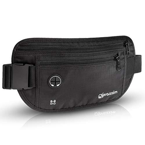 praxxim Hochwertige Flache Bauchtasche für Reisen, Sport, Joggen - Schwarze Gürteltasche für Damen und Herren - Hüfttasche mit RFID Schutz