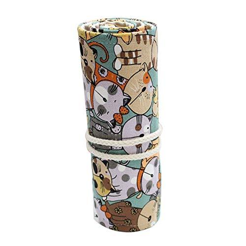 Westeng 36 Agujeros Estuche Enrollable De Lona Bolsa De Lápiz Kawaii Cara de Gato Estuche de Lápices Material Escolar para Oficina y Escuela size 50cm*21cm