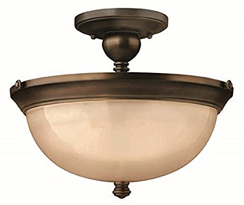 Industrial Style Semi Flush Ceiling Light in Warm Bronze Finish - With Amber Glass Lamp Shade