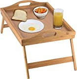 Worthy Shoppee Wooden Foldable Breakfast Tray, Serving Tray with Folding Legs, Bed Table
