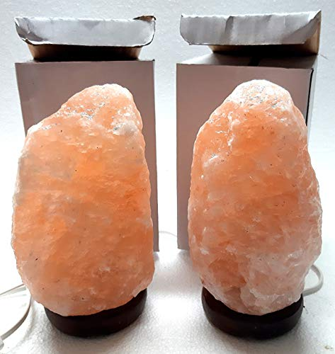 2 Lampade di Sale Rosa Grezza, 1-2 kg Salgemma dell\'Himalaya,Ideali per COMODINI, con Certificato di Garanzia.