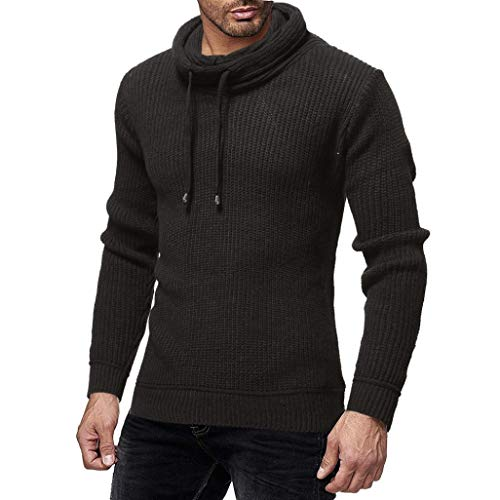 Herren Pullover - Freizeit Top -Mode Herbst Winter Solide Gestrickte Trutleneck Bluse Top-Herren Strickpullover Feinstrick mit -Slim Fit Halfzip Jacke-Jumper Pullover Oberteile (Schwarz,2XL)