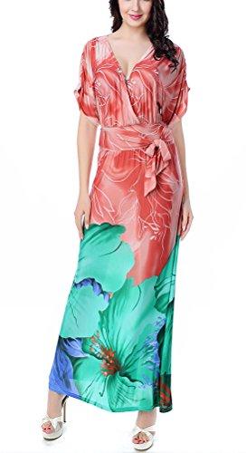 SMITHROAD Damen Elegant V Ausschnitt Langes Sommerkleid Kurzarm mit Blumen Druck Stretch Kleid Abendkleid große Größen Rosa und Grün