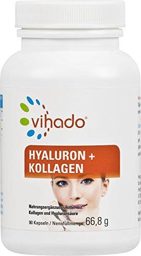 Vihado Hyaluronsäure hochdosiert + Kollagen Kapseln, Hyaluron-Kollagen-Hydrolysat Komplex, 90 Kapseln, 1er Pack (1 x 66,8 g)