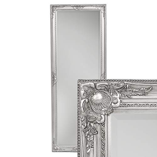 LEBENSwohnART Wandspiegel LEANDOS 180x70cm Silber Antik barock Design Spiegel pompös Facette