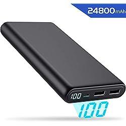 Yacikos Batterie Externe 24800mAh Haute Capacité, Power Bank [Design d'Écran LCD] Chargeur Portable avec 2 USB Ports Haute Vitesse Batterie de Secours Compatible avec Smartphones/Tablettes
