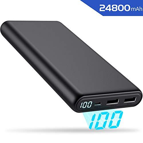 Yacikos Powerbank 24800mAh, Externer Akku [2019 Neu Slim LCD Digital Display] Portable Ladegerät,hohe Kapazität 2 USB Ports Output für Smartphones, Tablett und weitere Digitalgerät -
