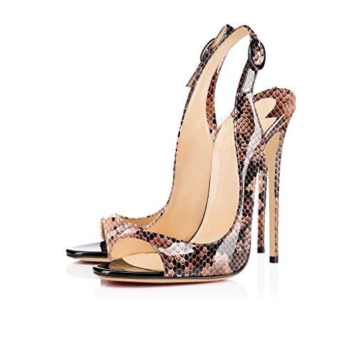 EDEFS Femmes Artisan Fashion Sandales Décolletés Bout Ouverts Chaussures à talon haut de 120mm Noir Python-marron