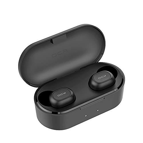 Qcy t2c true wireless auricolari bluetooth 5.0 mini auricolari stereo in ear cuffie con microfono incorporato totale 32 ore playtime bassi bassi chiamate binaurali auto pairing (nero)