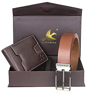 Hornbull Men's Brown Wallet and Brown Belt Combo BW102109