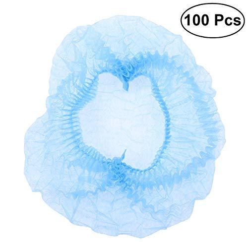 Haar-maske Essen (HEALIFTY 100 Stücke Einwegkappe Für Haar vlies Net Cap für Medizinische Service Lebensmittel Backen Make-Up (Blau))