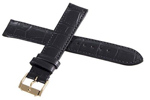Movado Leder Uhrenarmband 17 mm schwarz vergoldete Schließe 9211