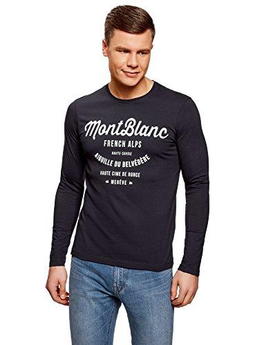 Oodji ultra uomo t-shirt a maniche lunghe con stampa senza etichetta, blu, it 54/eu 56/xl