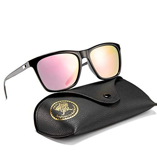 Rocf Rossini Polarisiert Herren Sonnenbrille für Damen klassisch Retro Sonnenbrillen Aluminium-Magnesium-Legierung Männer und Frauen Vintage Anti Reflexion UV400 Schutz - Unisex (Schwarz/Rosa) -