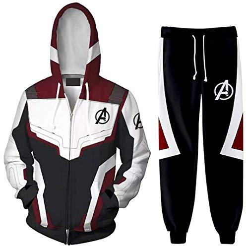 Silber Basic Herren Avengers Sport Set Superheld Uniform Hoodie Sweatshirt Pullover Kostüme Schwarz & Weiß-2 4XL
