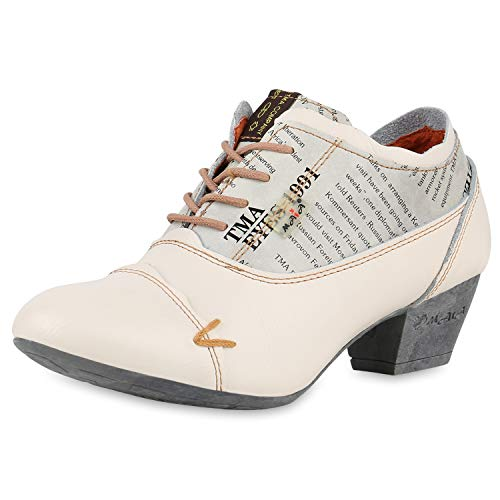 TMA MAIA Damen Stiefeletten Ankle Boots Leder Vintage Schuhe 174956 Creme 40 Scarpe Vita