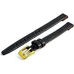 Ladies Open Ended Watch Band Strap for vintage watches. Genuine Leather 8mm Black with Gilt (Gold Colour) buckle